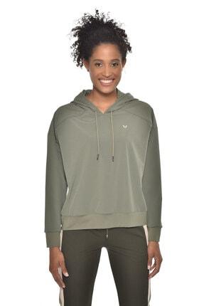 bilcee Kadın Haki Uzun Kollu Ince Sweatshirt Gw-9225