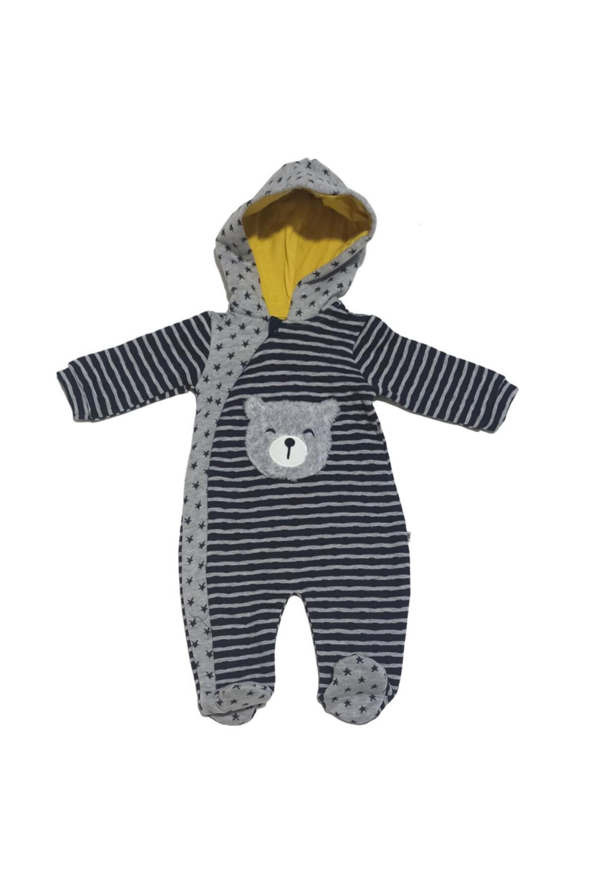 Mymio Erkek Bebek Lacivert Ayı Temalı Kapüşonlu Tulum 1