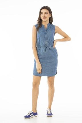CEDY DENIM Kadın Mavi Kolsuz Midi Kot Elbise Jeans Cb695