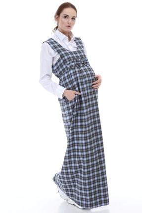 Entarim Kadın Mavi Hamile Ekose Uzun Elbise 9743