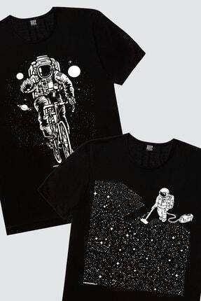 Rock & Roll Erkek Siyah Bisikletli Astronot, Siyah Süpürgeli Astrontot 2'li Eko Paket T-shirt