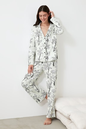TRENDYOLMİLLA Mint Baskılı Örme Pijama Takımı THMAW21PT0723