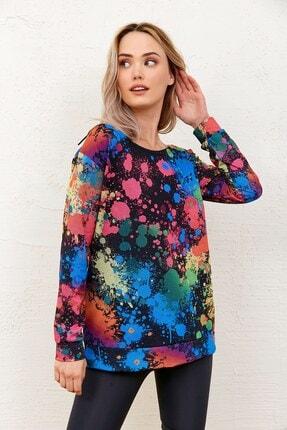 Eka Kadın Batik Desenli Kayık Yaka Sweatshirt