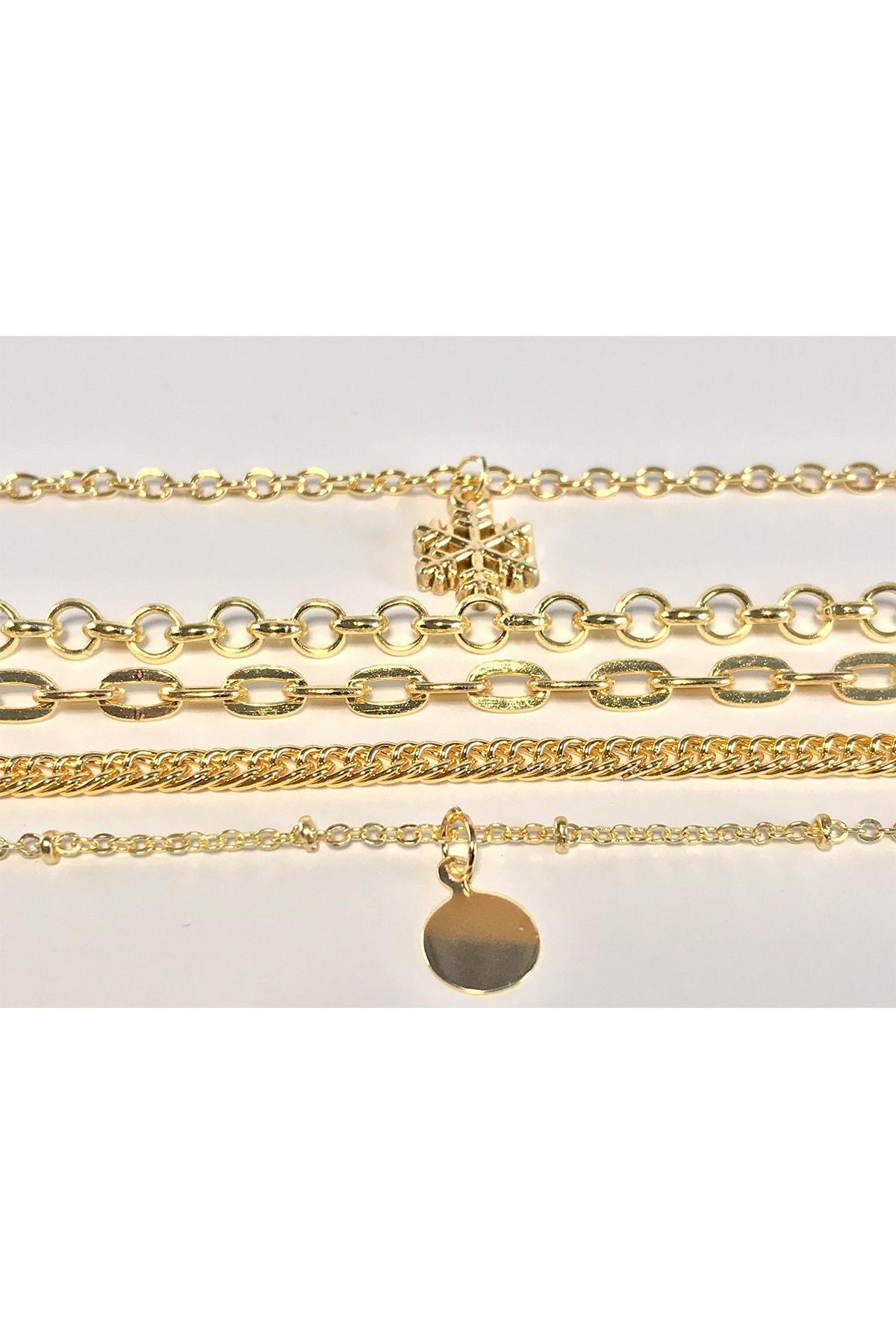 Mom's Concept 5'li Gold Renk Kar Tanesi Zincir Bileklik 2