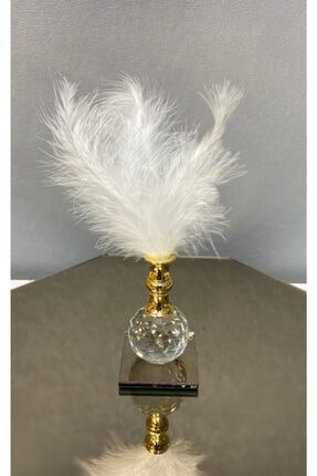 kytasarim Beyaz Tüylü Gold Kristal Top Tüylük Dekor
