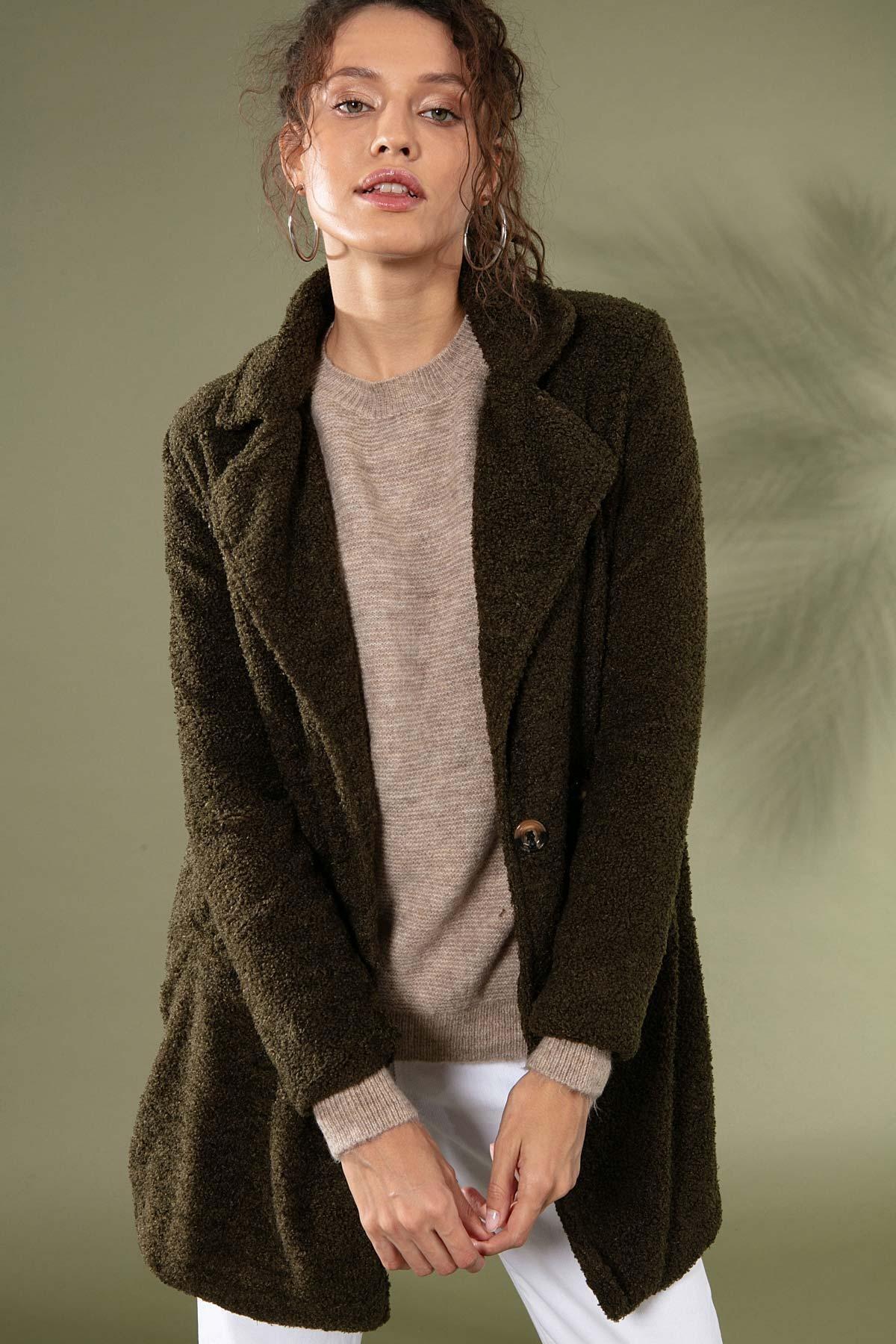 Y-London Kadın Haki Uzun Peluş Ceket 10418 2