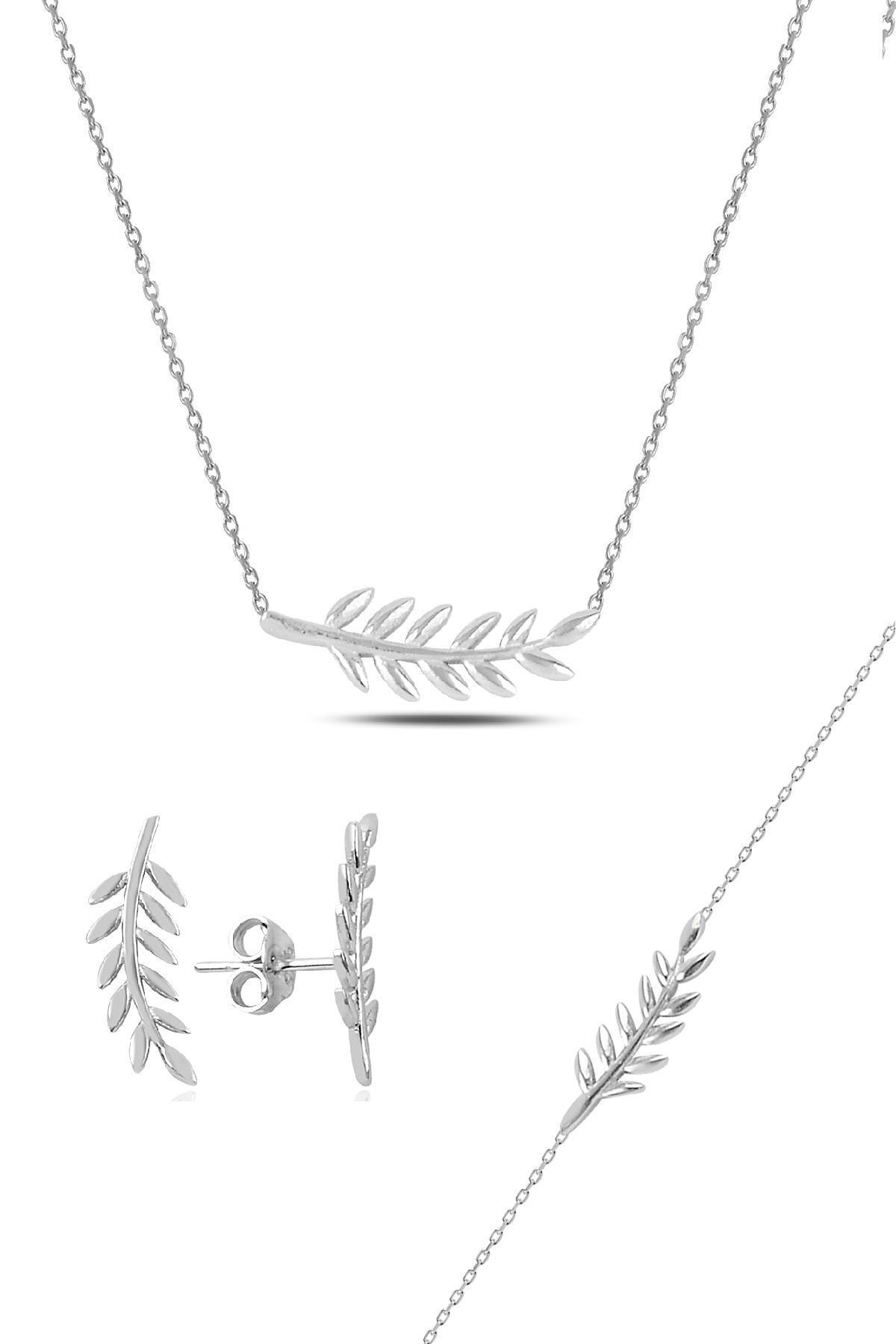 Söğütlü Silver Gümüş rodyumlu yaprak üçlü set