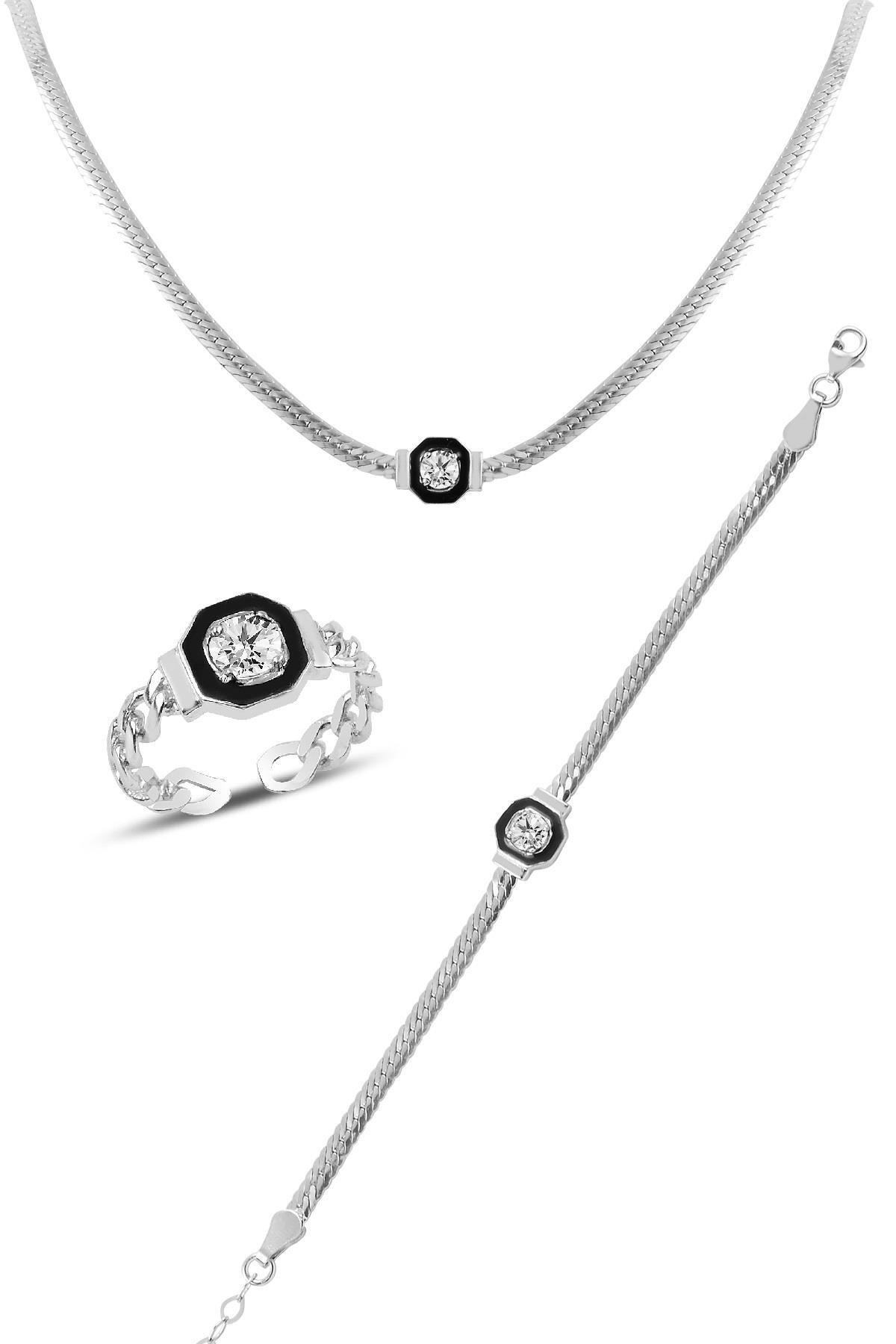 Söğütlü Silver Gümüş rodyumlu  çağla şikel kolye bileklik  ve yüzük gümüş  takım