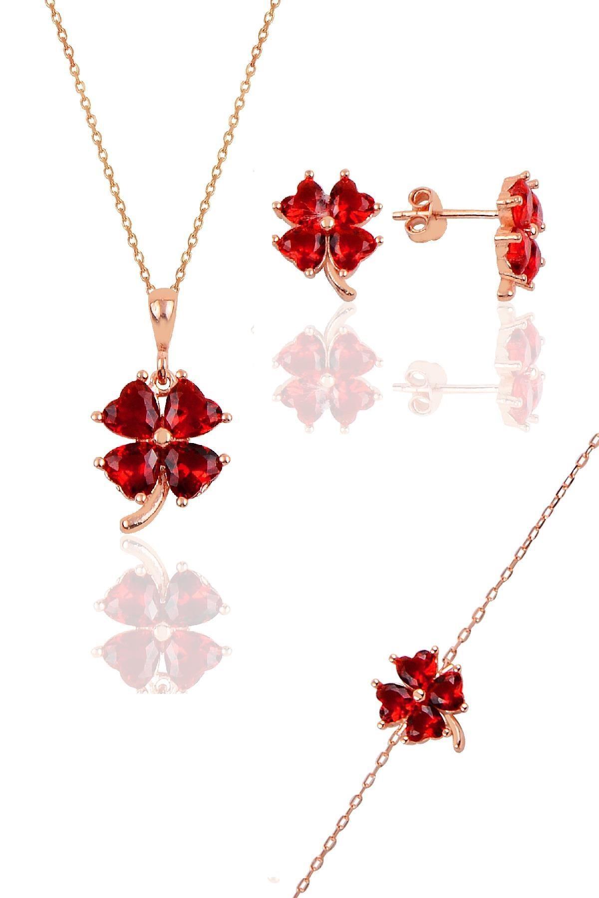Söğütlü Silver Gümüş rose lal  renkli yonca modeli üçlü set