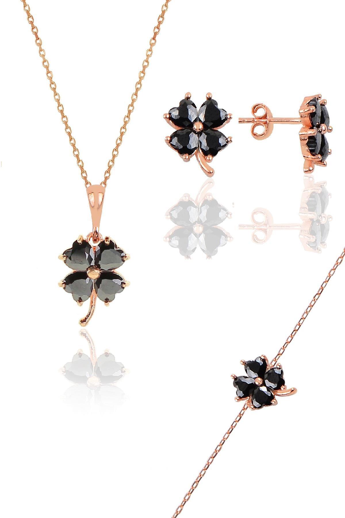Söğütlü Silver Gümüş rose siyah renkli yonca modeli üçlü set
