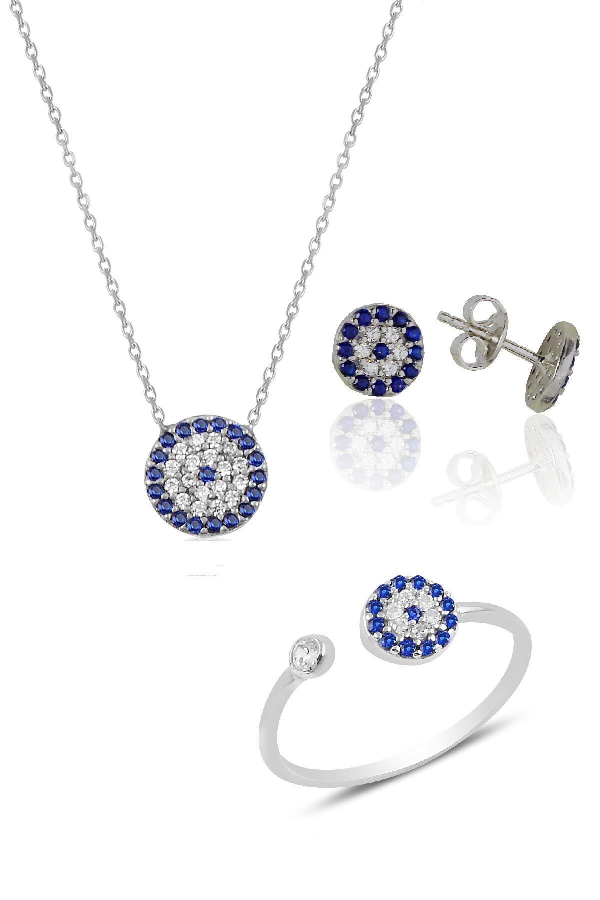 Söğütlü Silver Gümüş rodyumlu nazar modeli üçlü set