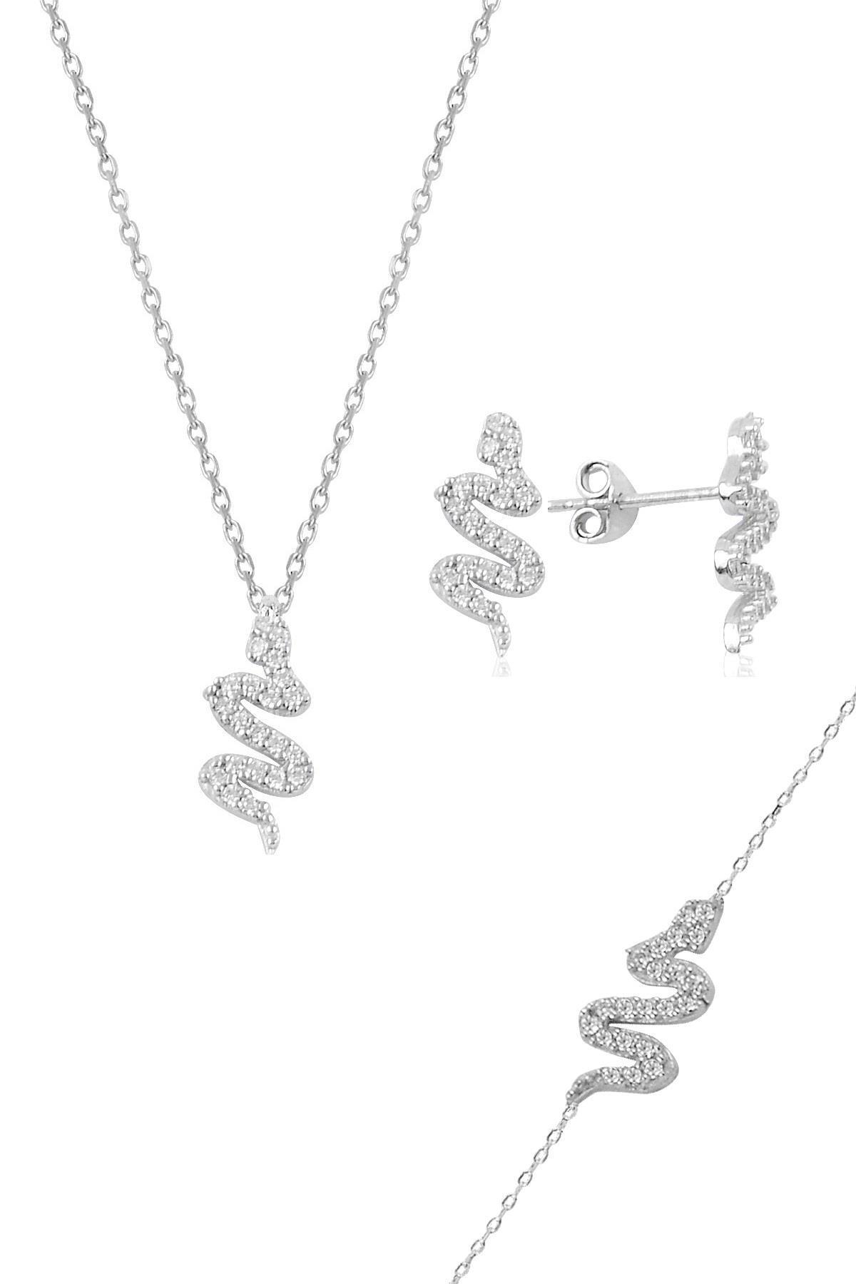 Söğütlü Silver Gümüş rodyumlu zirkon taşlı gümüş yılan üçlü set