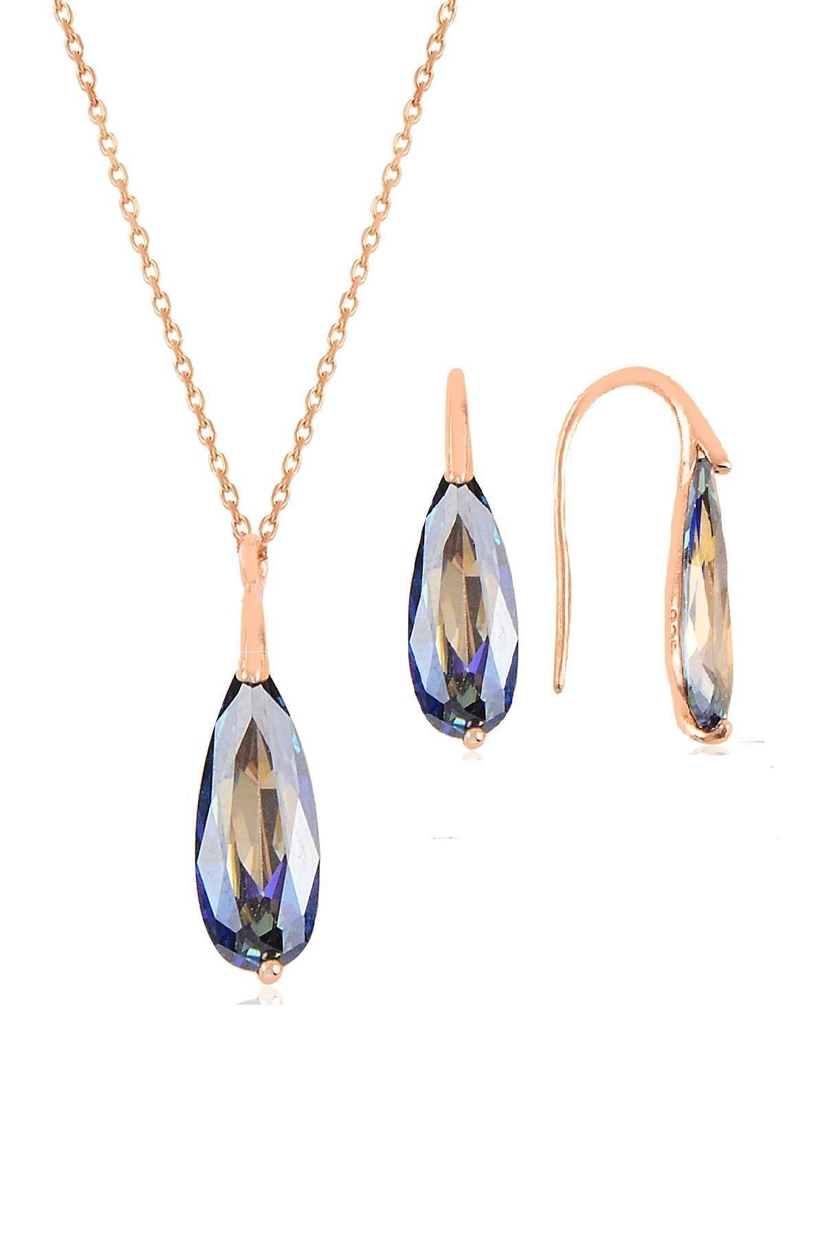 Söğütlü Silver Gümüş rose mavi mistik  taşlı damla kolye ve küpe ikili gümüş set