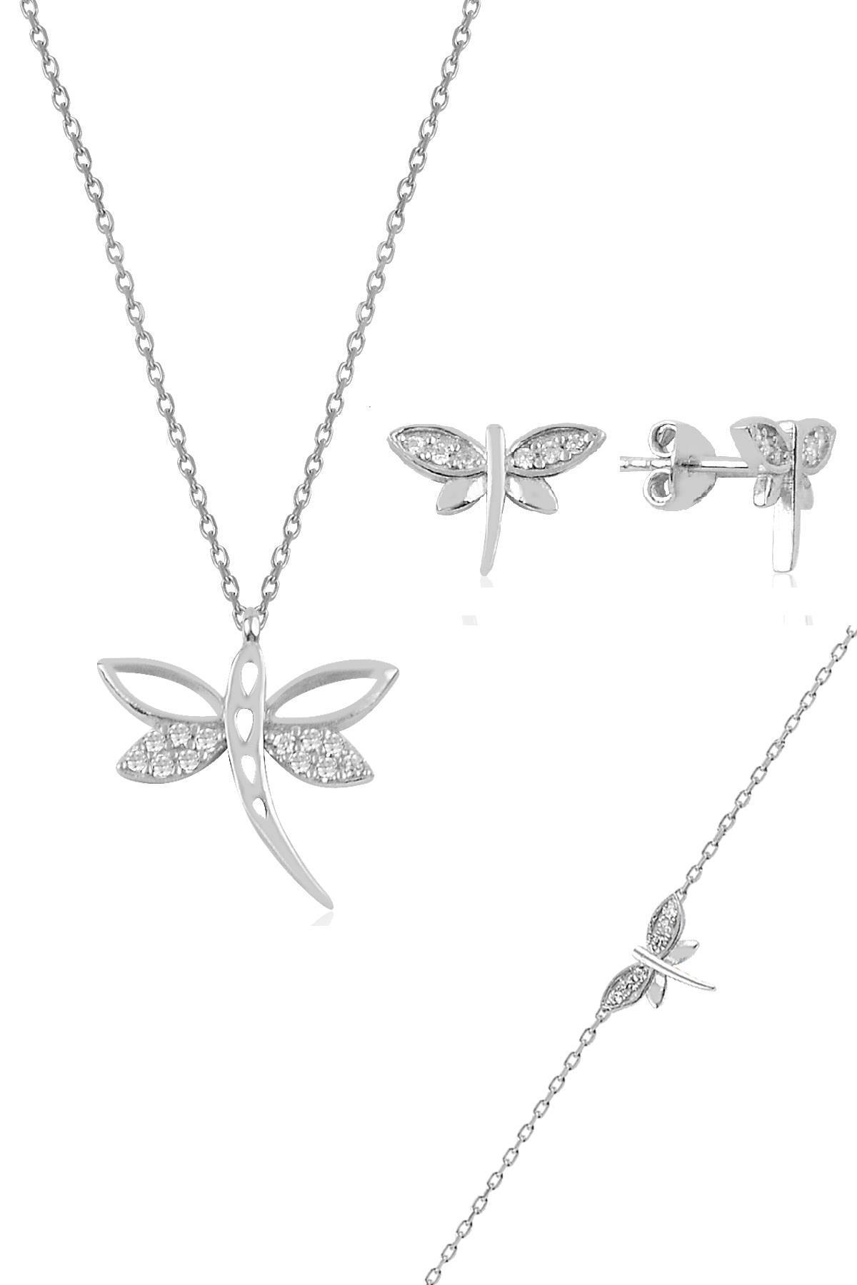 Söğütlü Silver Gümüş Rodyumlu Yusufçuk Kolye Bileklik Ve Küpe Gümüş Üçlü Set