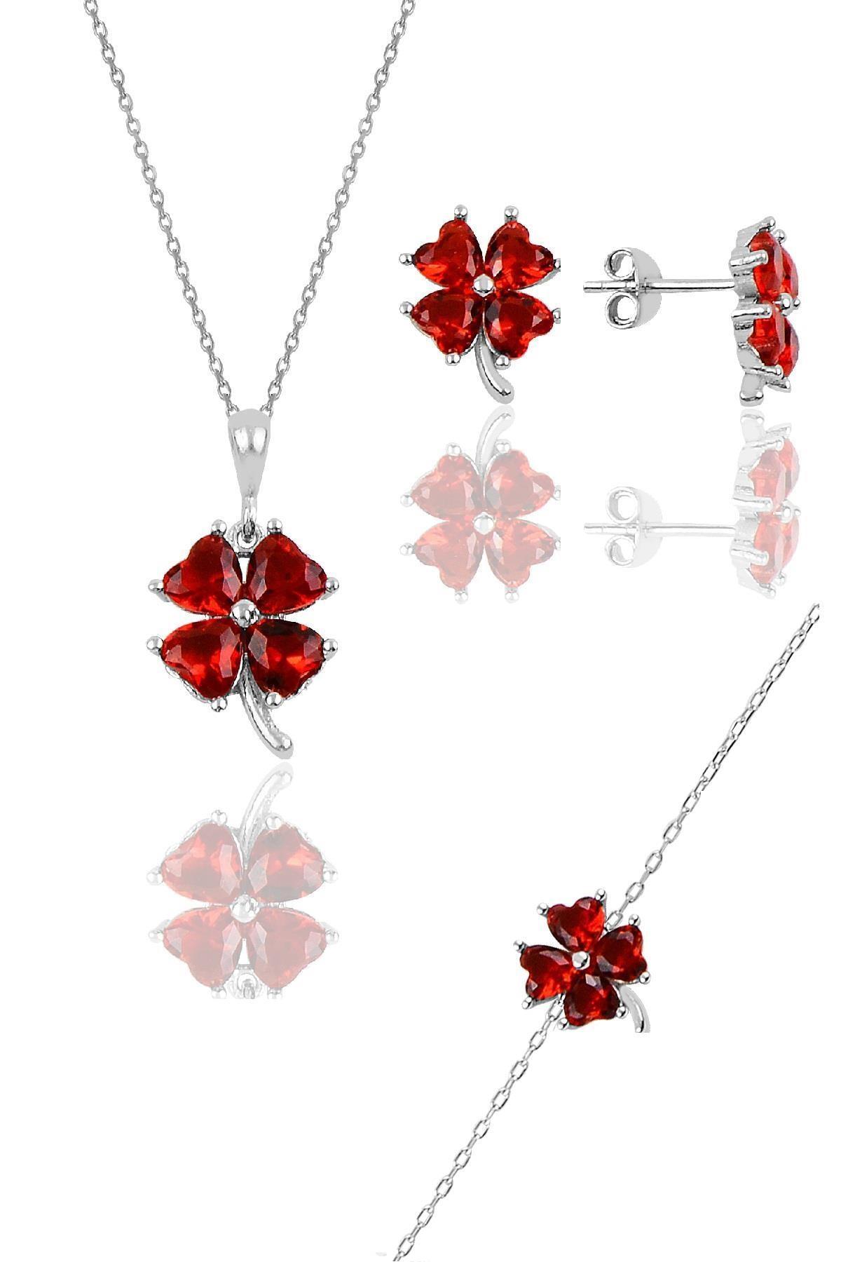 Söğütlü Silver Gümüş rodyumlu lal  renkli yonca modeli üçlü set