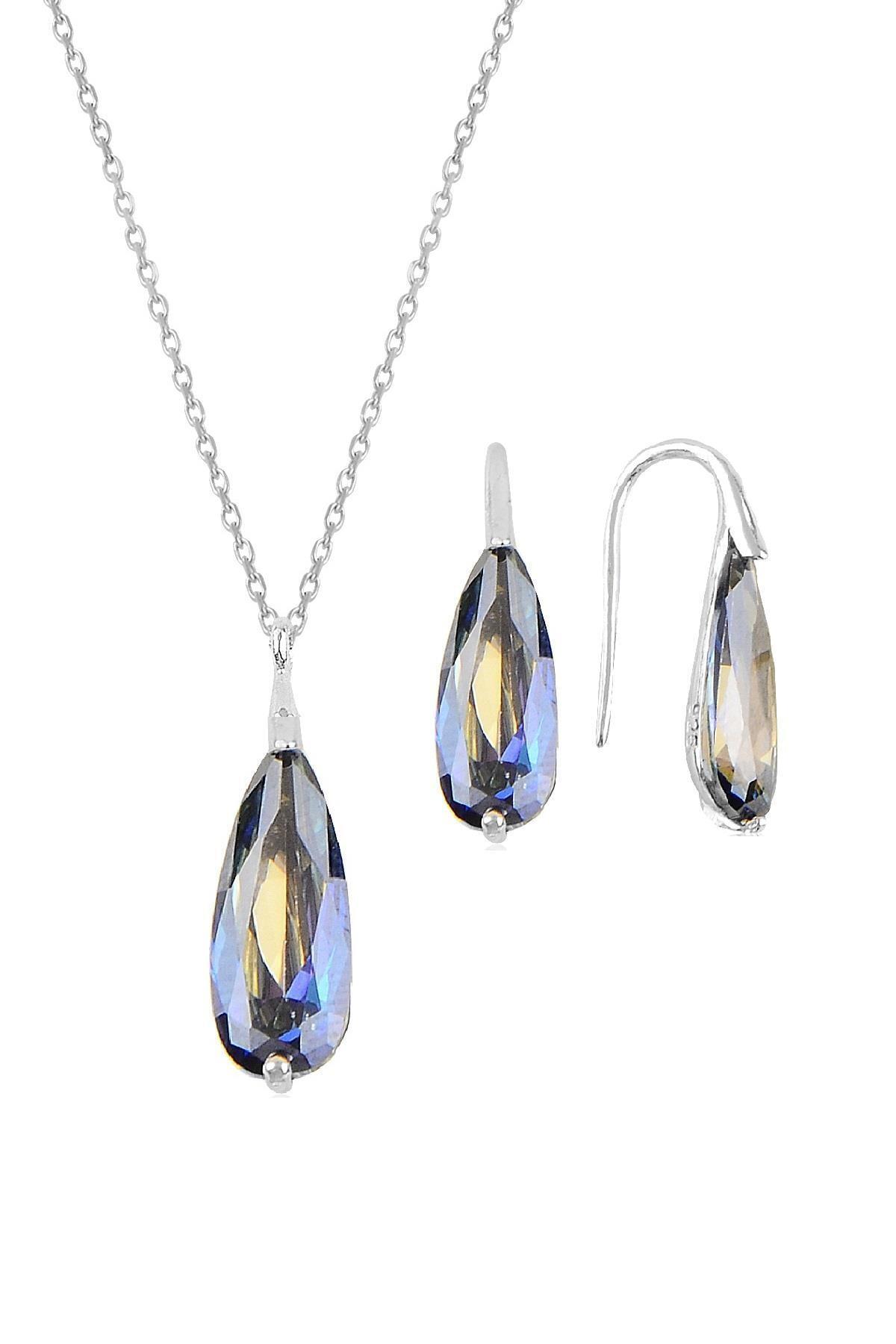 Söğütlü Silver Gümüş rodyumlu mavi mistik  taşlı damla kolye ve küpe ikili gümüş set