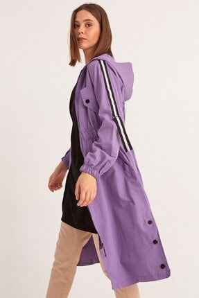 Fulla Moda Kadın Lila Beli Lastikli Kapüşonlu Trençkot