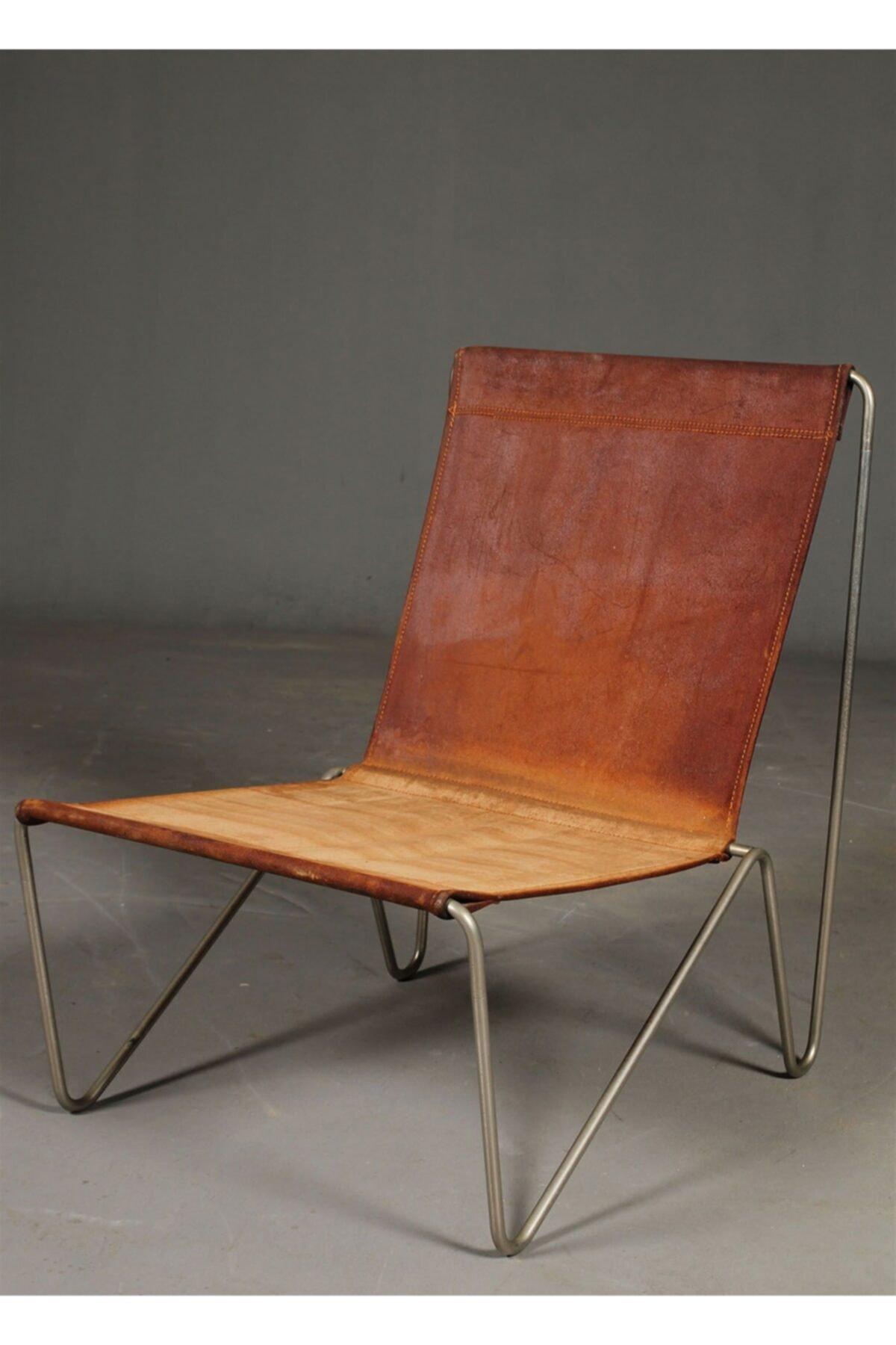 sohomanje Gerçek Deri Metal Sandalye Berjer 1