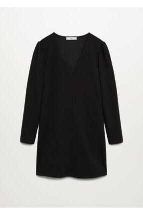 MANGO Woman Kadın Siyah Düz Kesim V Yakalı Elbise