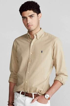 Polo Ralph Lauren Erkek Camel Slim Fit Oxford Gömlek
