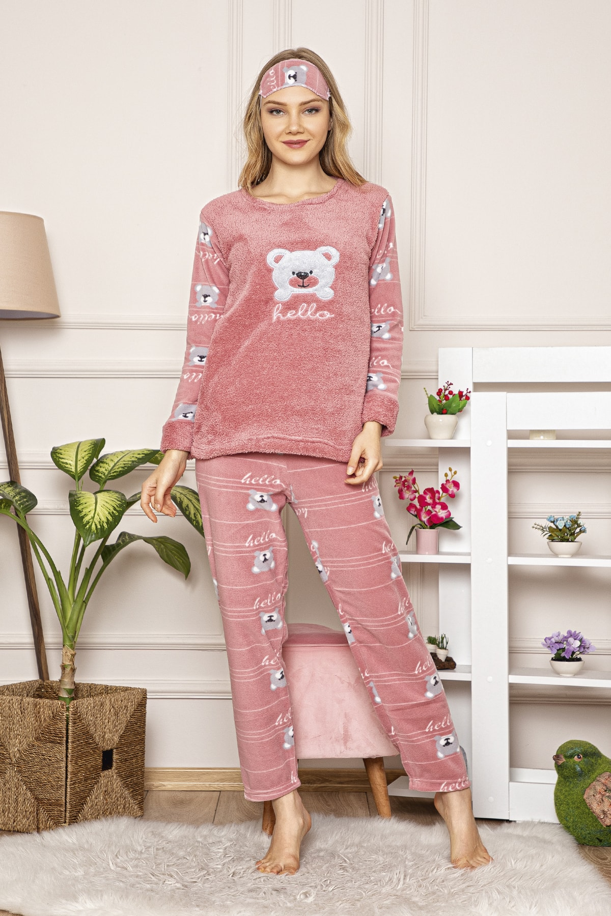 Kompedan Kadın Pembe Welsoft Pijama Takım 1