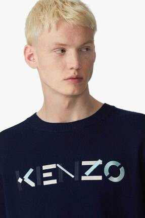 Kenzo Erkek Lacivert Logo Yün Triko