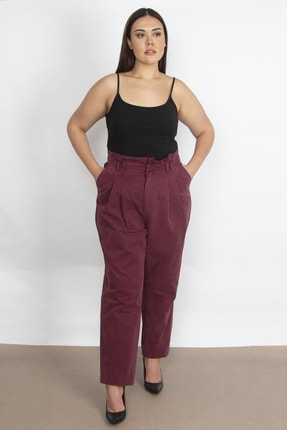 Şans Kadın Mürdüm Kese Kağıdı Belli Pantolon 65N21005