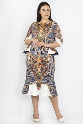 Şans Kadın Renkli Bel Detaylı Abiye Elbise 65N20691