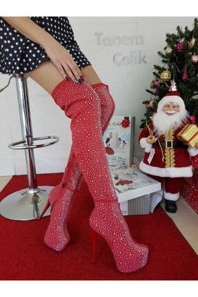 TANEM ÇELİK Kadın Lazer Taşlı Kırmızı Çizme