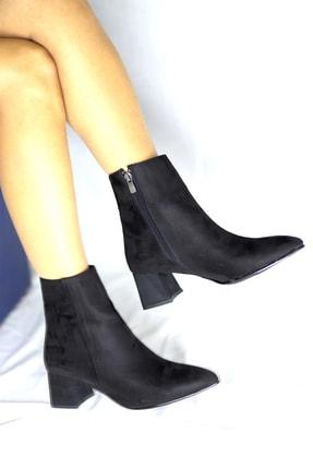 Pekcan Ayakkabı Sivri Kısa Buti Süet Siyah Topuk 5cm