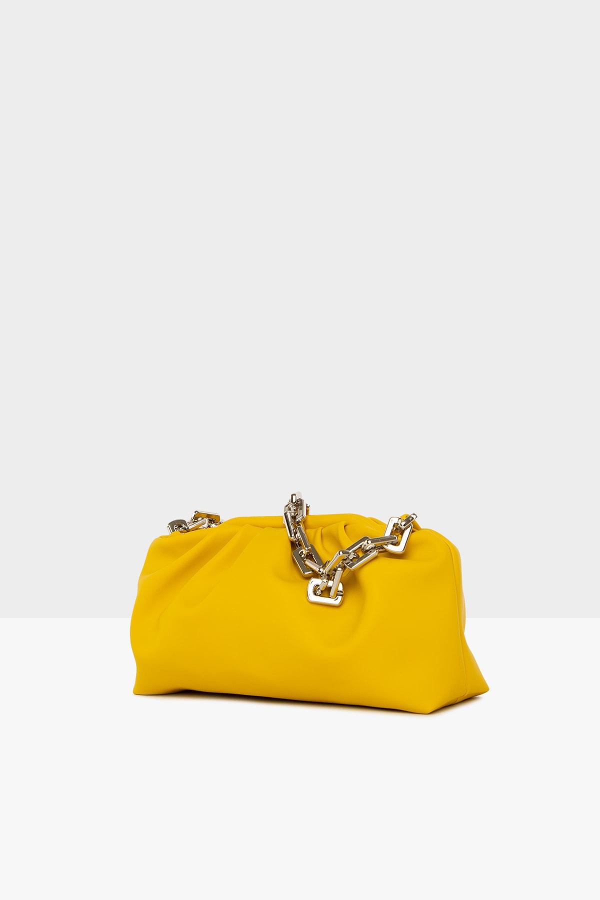 Dora&Dora Kadın Sarı Zincirli Burslu  Omuz Çanta 2