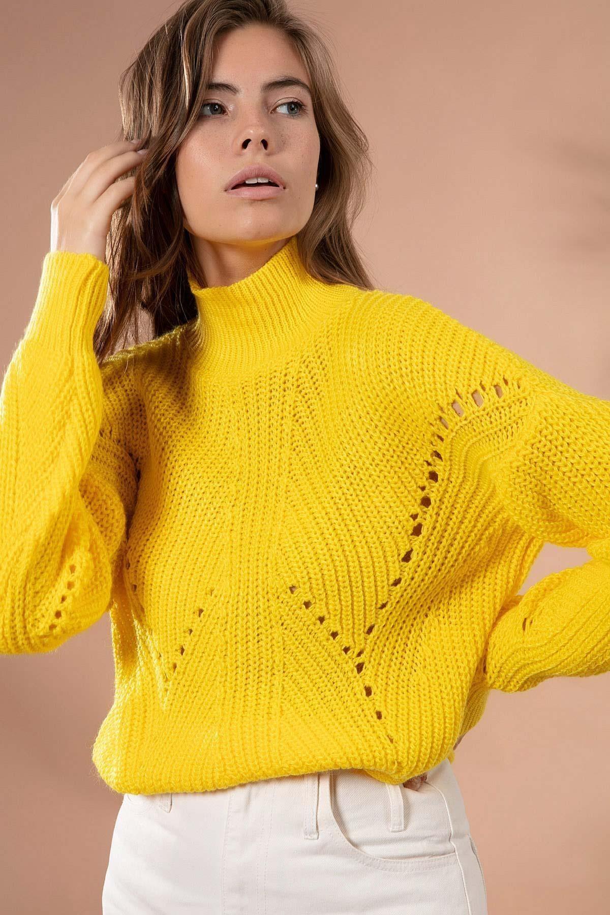 Y-London Kadın Sarı Uzun Boğazlı Triko Kısa Kazak 5111-2 1