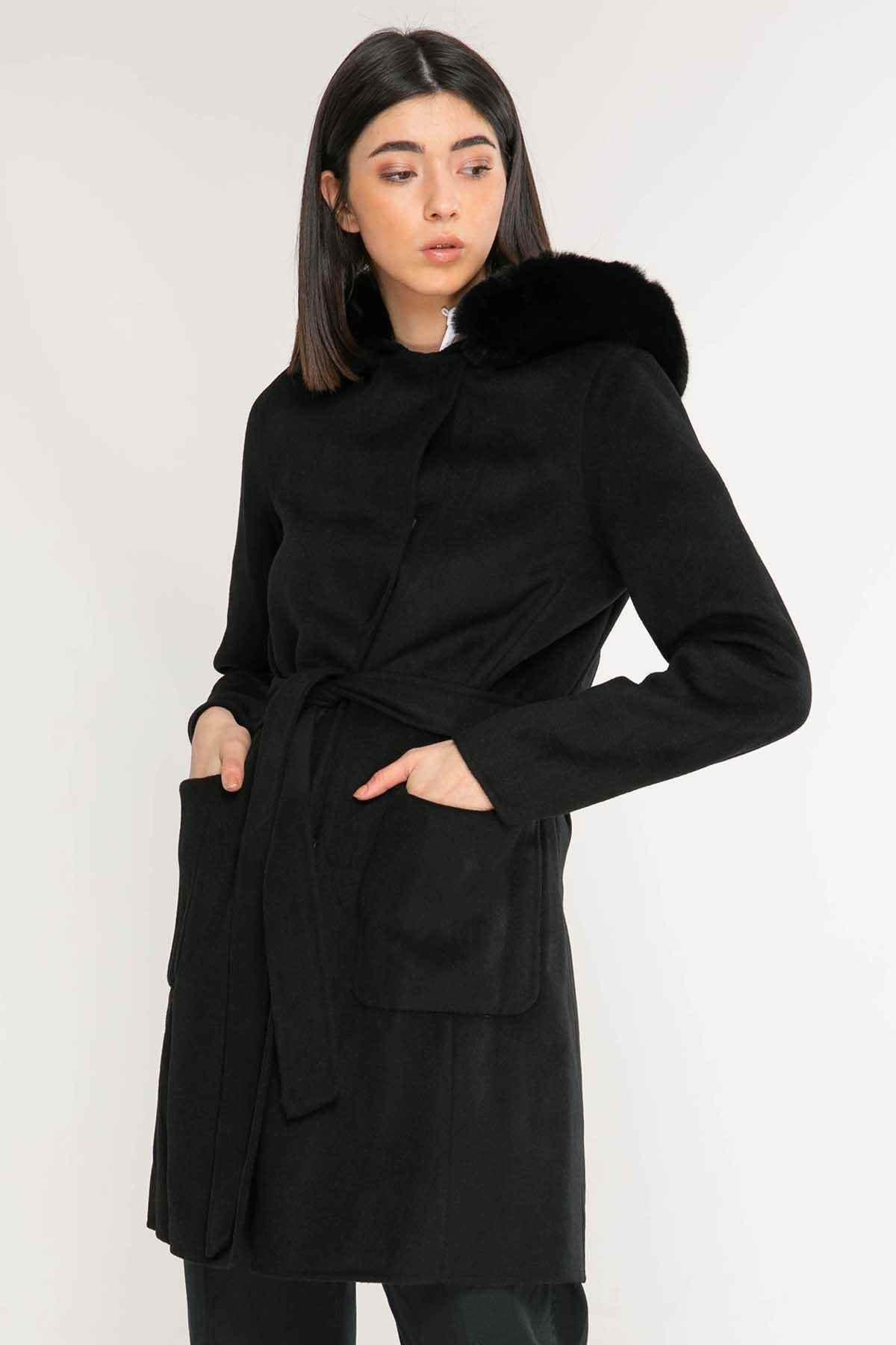 Polo Ralph Lauren Kadın Siyah Kuşaklı Palto 2
