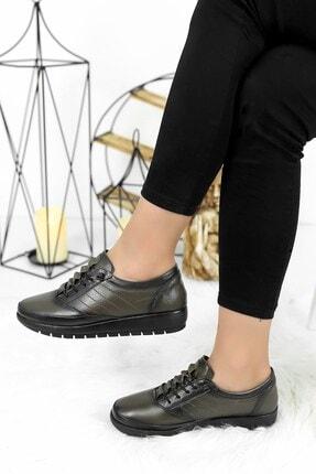 Ayakkabı Fuarı Kadın Haki Hakiki Deri Dolgu Topuk Ayakkabı