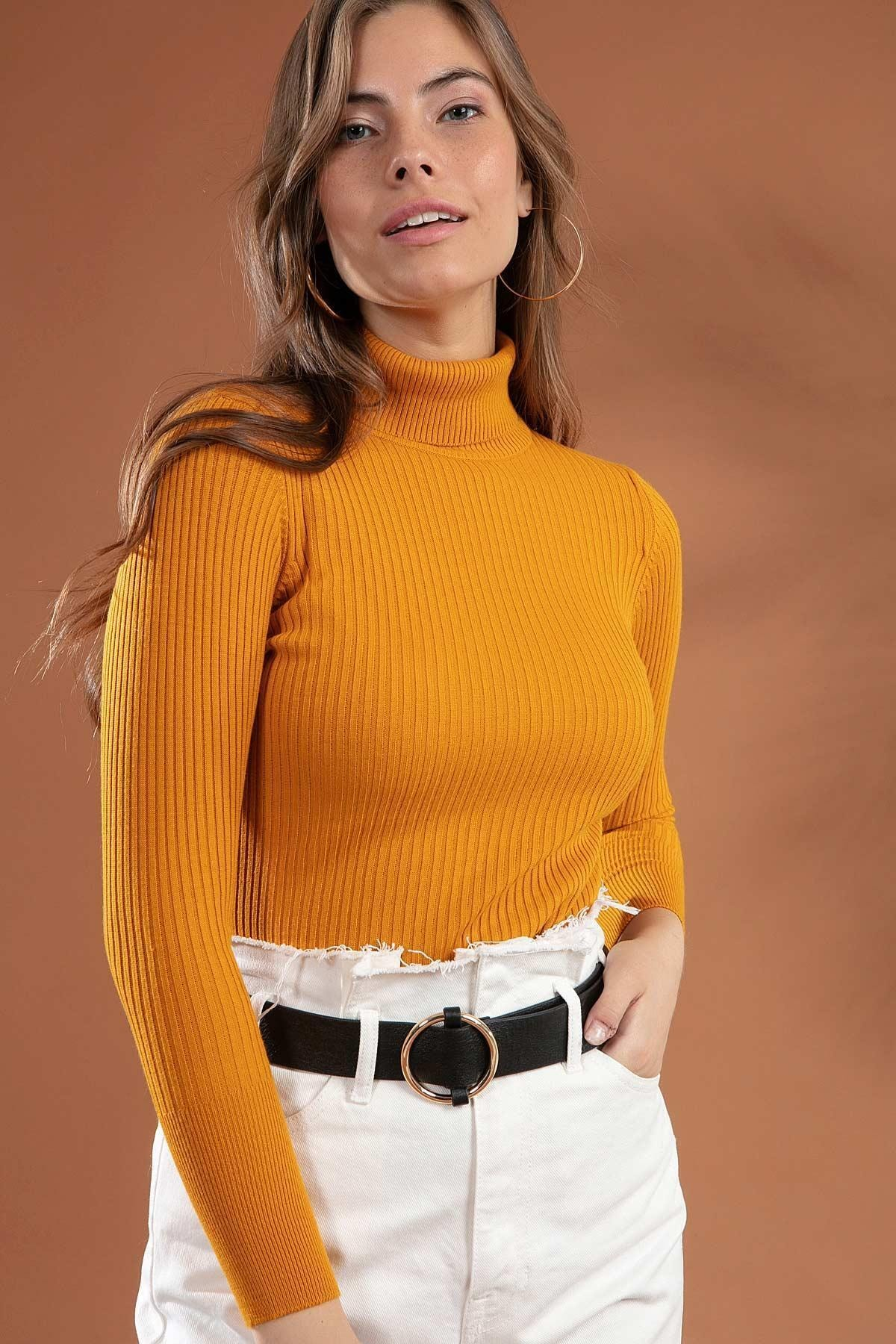 Y-London Kadın Sarı Boğazlı Fitilli Triko Kazak Y20w110-44500 1