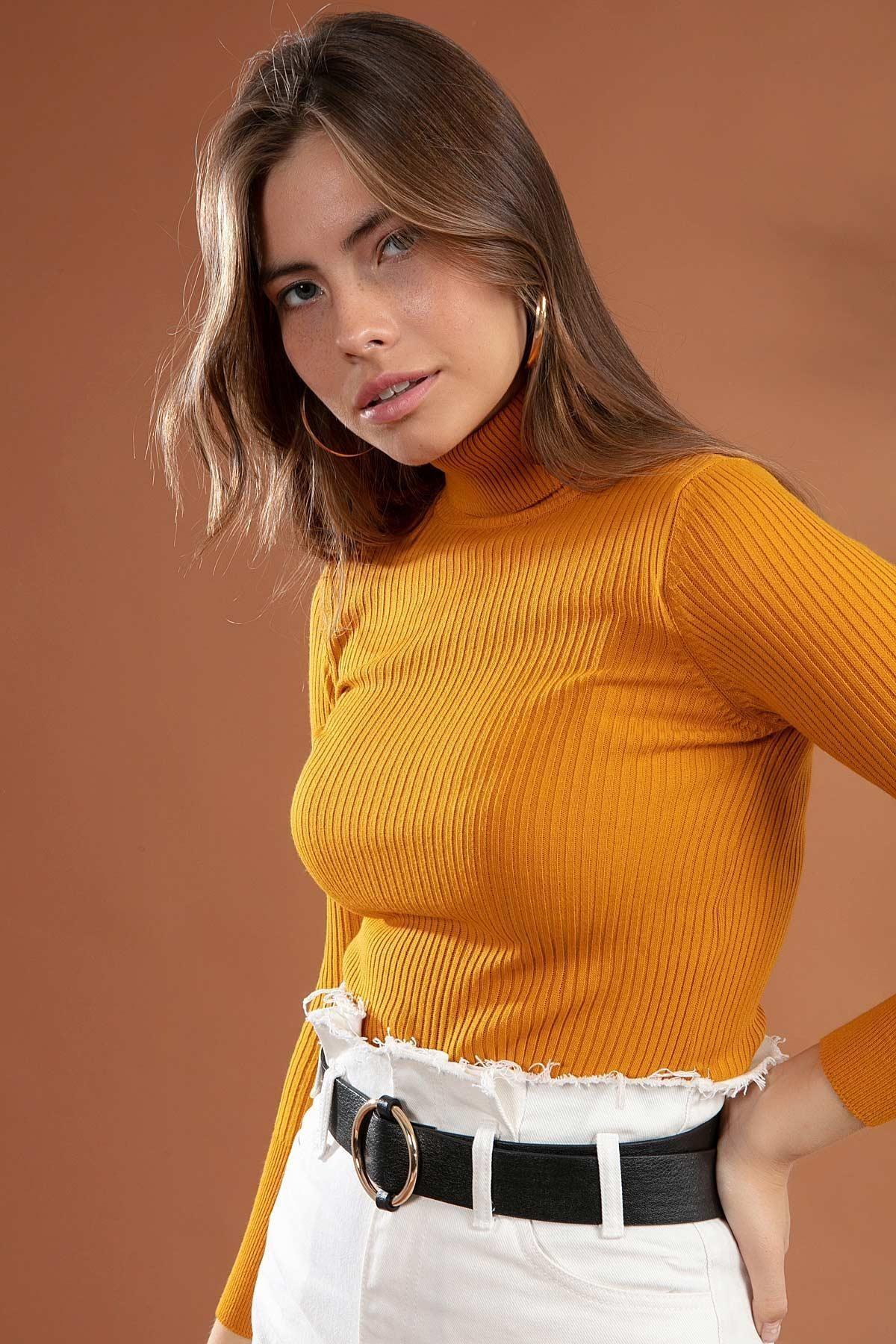 Y-London Kadın Sarı Boğazlı Fitilli Triko Kazak Y20w110-44500 2
