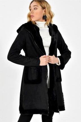 Dewberry Kadın Siyah Kürklü Palto Z6625