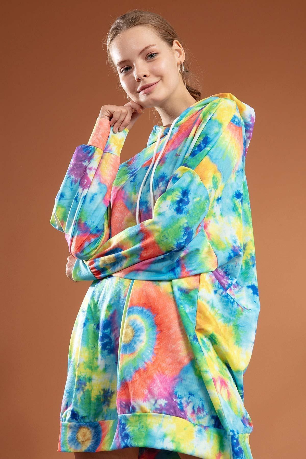 Pattaya Kadın Batik Desenli Kapşonlu Oversize Elbise Sweatshirt Y20w110-4125-9 2