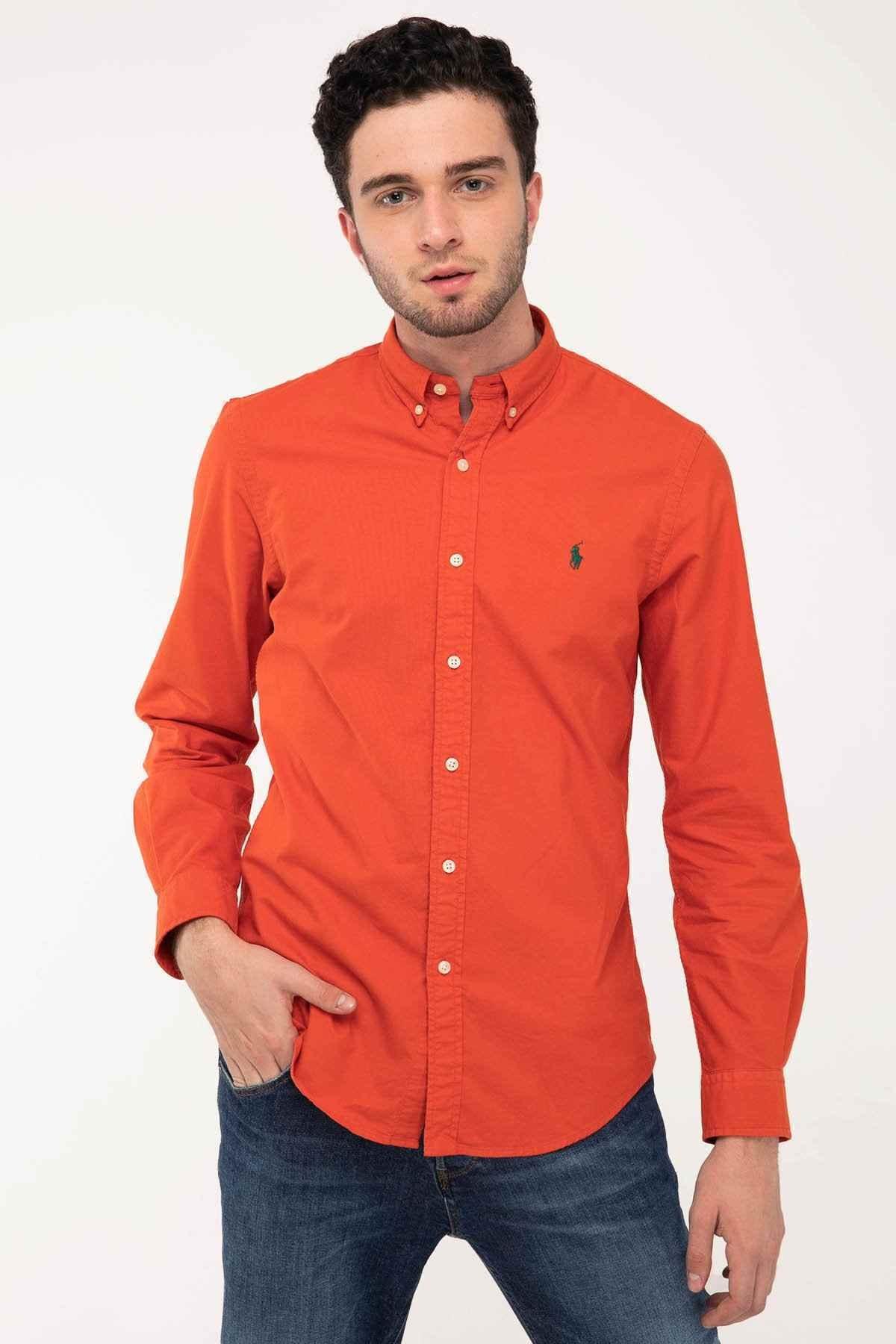 Polo Ralph Lauren Erkek Nar Çiçeği Slim Fit Oxford Gömlek 1