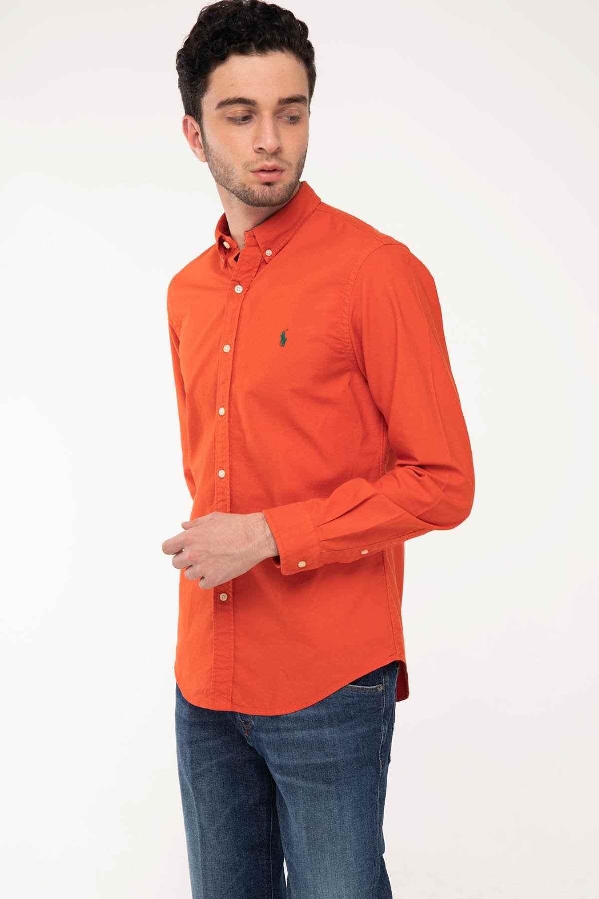 Polo Ralph Lauren Erkek Nar Çiçeği Slim Fit Oxford Gömlek 2