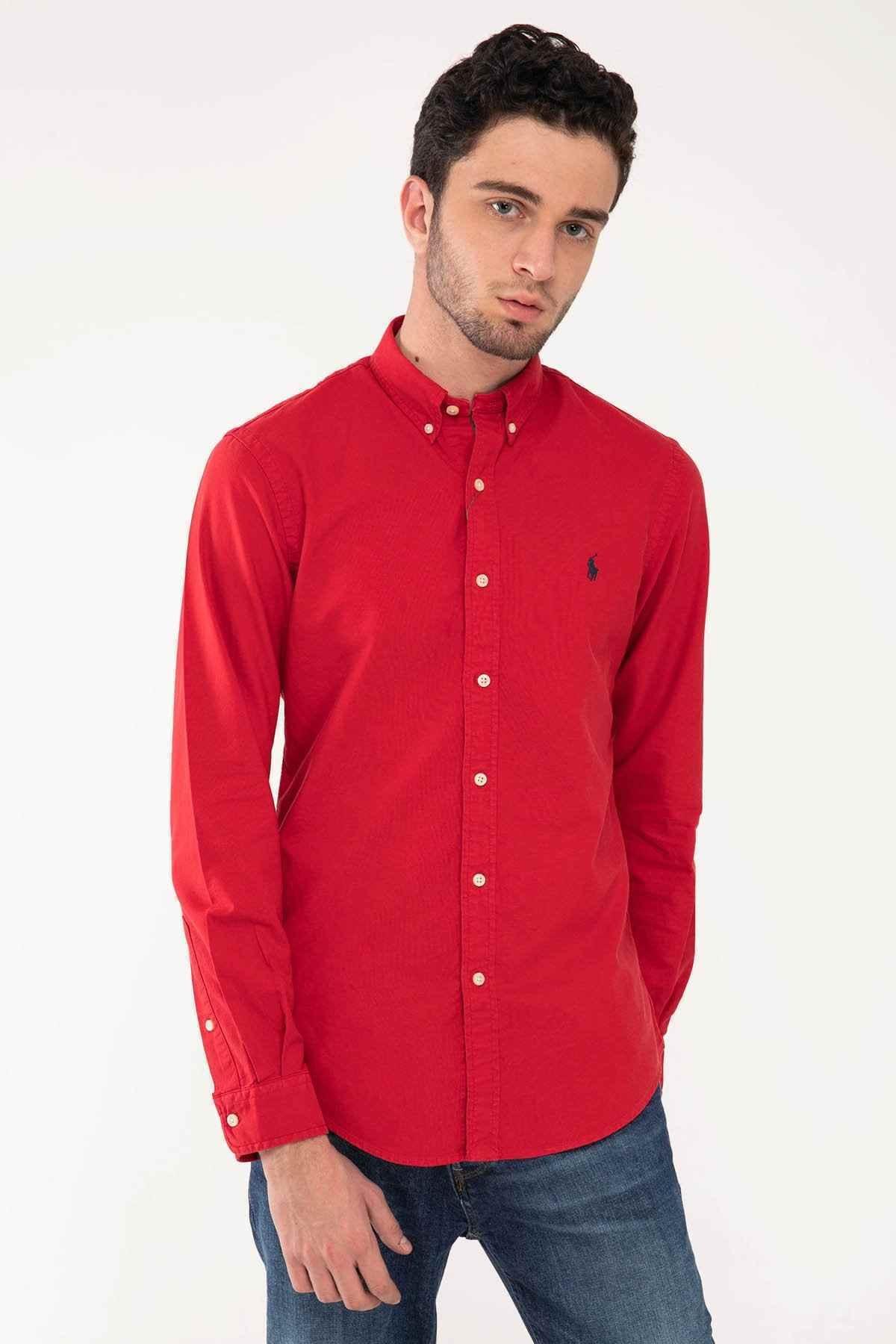 Polo Ralph Lauren Erkek Kırmızı Slim Fit Oxford Gömlek 1