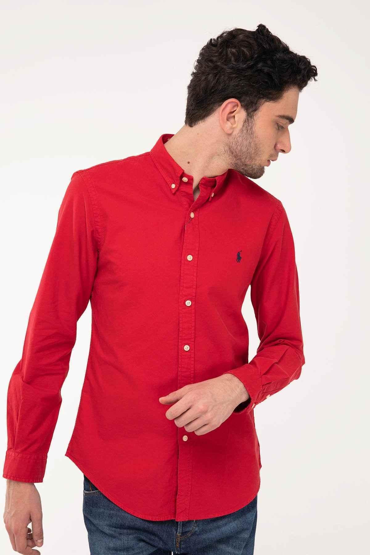 Polo Ralph Lauren Erkek Kırmızı Slim Fit Oxford Gömlek 2