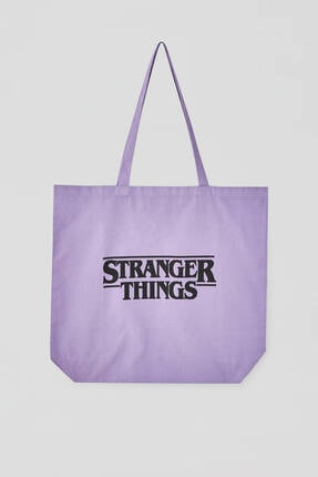 Pull & Bear Stranger Things Yazılı Mor Çanta