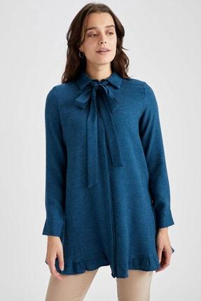 DeFacto Kadın Lacivert Fular Yaka Relax Fit Gömlek Tunik