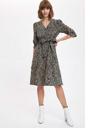 DeFacto Kadın Vizon-520-13 Baskılı V Yaka Dokuma Elbise T1057AZ20AU