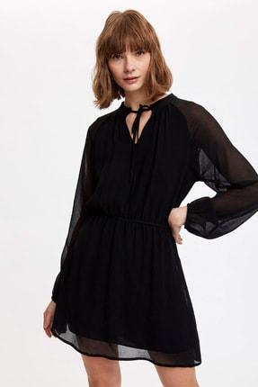 DeFacto Kadın Siyah Kuşak Detaylı Balon Kollu Dokuma Elbise