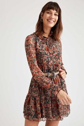 DeFacto Kadın Pembe Volan Detaylı Dik Yaka Dokuma Elbise