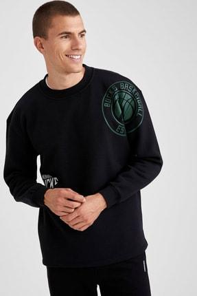 DeFacto Erkek Siyah Nba Lisanslı Bisiklet Yaka Oversize Fit Sweatshirt