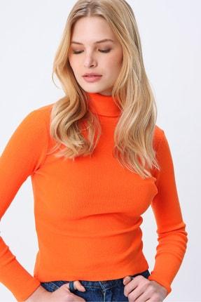 Trend Alaçatı Stili Kadın Turuncu Balıkçı Yaka Basıc Fitilli Şardonlu Bluz ALC-X5420