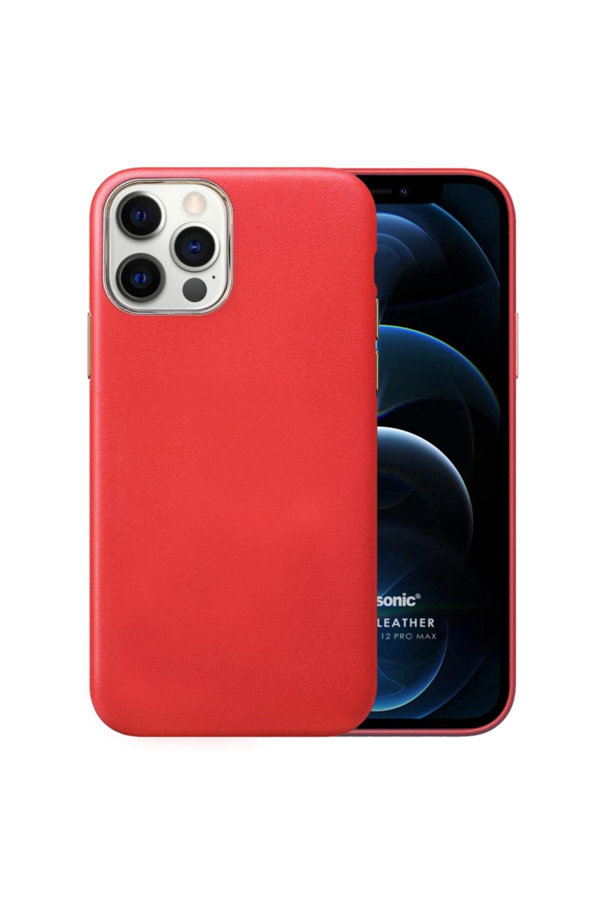 Microsonic Apple Iphone 12 Pro Max Kılıf Luxury Leather Kırmızı 1